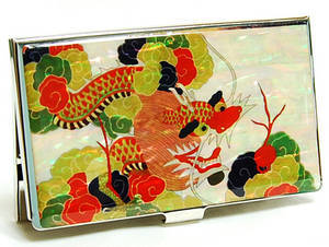 Designer business card holder, mother of pearl gift, Tiger & bird