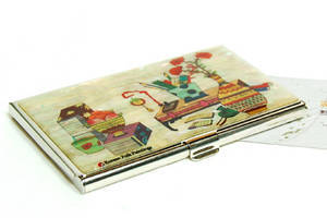 Designer business card holder, credit cardholder, mother of pearl gift, desk
