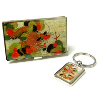 Gift set of business card holder, Key ring, handmade mother of pearl gift Dragon