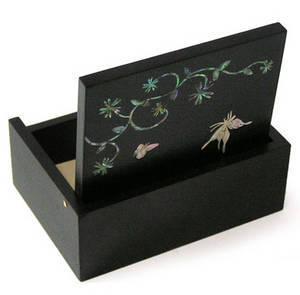 Mother of pearl wooden jewellery box, butterfly keepsake box