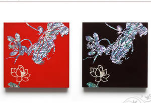 Wall hanger, mother of pearl home decoration, lacquer red lotus 2