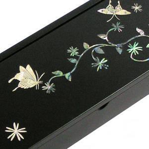 Mother of pearl wooden pencil case, Keepsake box, butterfly