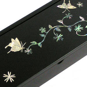Mother of pearl wooden pencil case, Keepsake box, butterfly