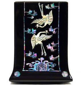 Mother of pearl pen holder, lacquer gift, cranes