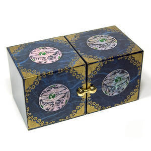 Wooden jewellery box with hidden drawers, gold embellishment