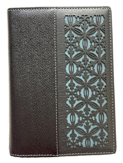 Genuine leather passport cover wallet, handmade designer gift, navy silk