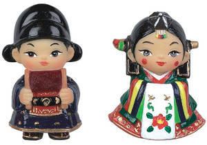 Marble oriental doll fridge magnet - handmade gift