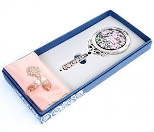 Handheld hand mirror, mother of pearl gift, cherry blossom