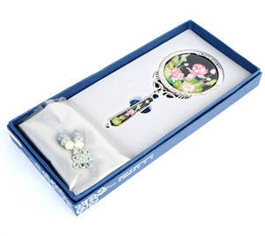 Handheld hand mirror, mother of pearl gift, Lotus