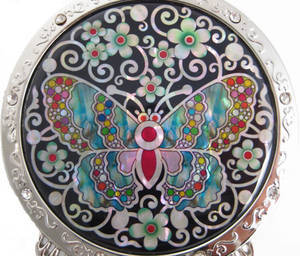 Hand held mirror, mother of pearl gift, butterfly