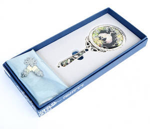 Hand held mirror, mother of pearl gift, cranes