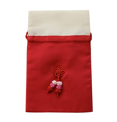 Jewellery pouch with hand knotted embellishment, red & beige
