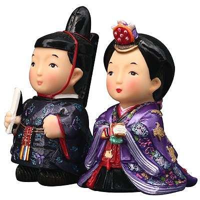 Japanese King Queen figurines, hand painted
