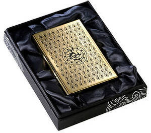Gold plated credit card holder, business card holder, handmade gift, Crow