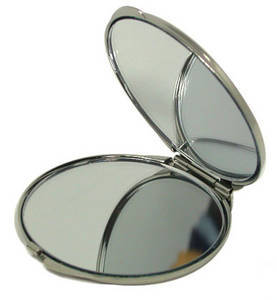 Portable mother of pearl double cosmetic mirror, handmade gift