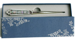Letter opener with mother of pearl inlaid, paper knife, handmade gift, flower