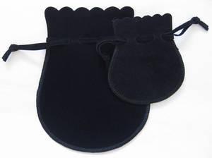 Velvet jewellery pouch, black drawstring jewelry bag, small