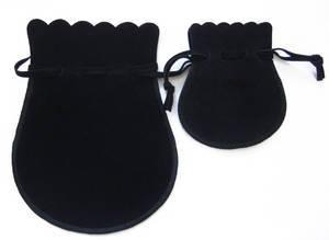 Velvet jewellery pouch, black drawstring jewelry gift bag, large