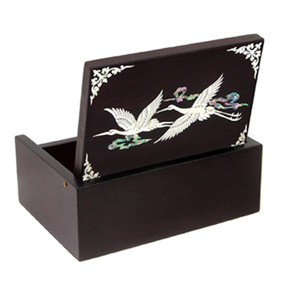 Wooden keepsake box mother of pearl trinket box, flying cranes