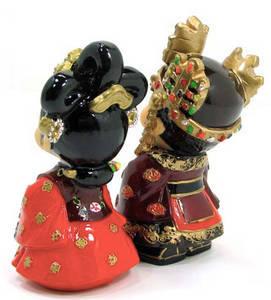 Oriental figurine, handmade King and Queen figurines gift set
