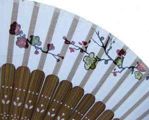 Hand held fan, bamboo & white silk with fan case, handmade gift