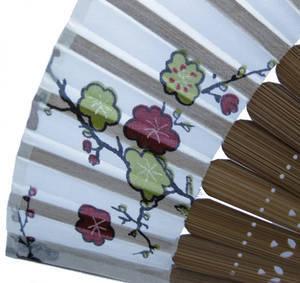 Hand held fan, bamboo & white silk with fan case, handmade gift