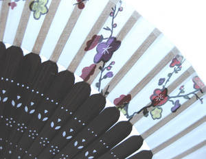 Hand fan, dark brown bamboo & white silk with fan case. flowers