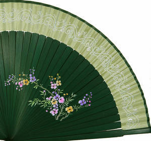 Oriental hand fan, dark green bamboo & green silk, handmade gift