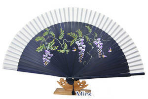 Oriental hand fan, bamboo & mauve silk, handmade gift
