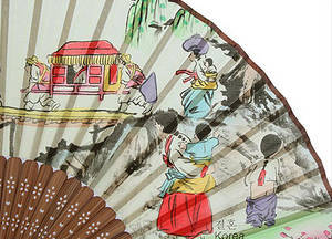 Oriental hand fan, bamboo & silk, wedding procession, mother of pearl gift