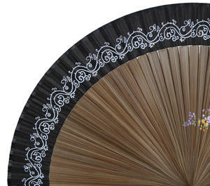 Folding bamboo hand fan, black silk