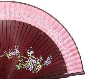 Hand held fan, mahogany bamboo, dusty pink silk