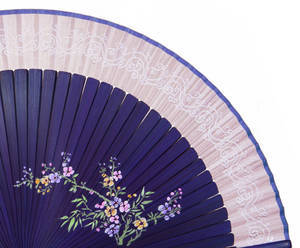 Hand held folding fan, purple bamboo, light pink silk