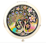 Compact mirror, pocket make up mirror, mother of pearl gift, peacocks