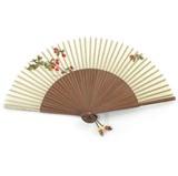 Hand fan, brown bamboo & beige silk, Red berry