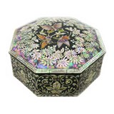 Wooden octagonal keepsake box. mother of pearl lacquer butterfly | black