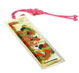 Bookmark, mother of pearl & hand knotted tassel, handmade gift, green dragon