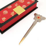 Paper knife, gold plated letter opener with gemstone, handmade butterfly gift