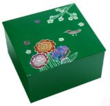 Sweet trinket box with mother of pearl inlaid lacquer, flower & sparrow on twig