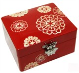 Wooden jewellery box, mother of pearl inlaid lacquer. Red lotus flower roof