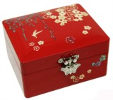 Wooden jewellery box, mother of pearl inlaid lacquer. Flower, willow & bird