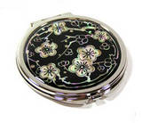 Hand mirror, handmade mother of pearl compact mirror, black cherryblossom