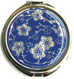 Handmade cosmetic mirror, mother of pearl gift, blue cherry blossom