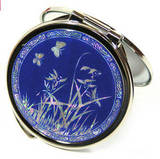 Compact hand mirror, handmade handheld mother of pearl gift, blue orchid