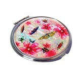 Compact mirror, mother of pearl gift. Pink butterfly flower