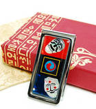 Money clip, stainless steel, designer, mother of pearl gift, mask