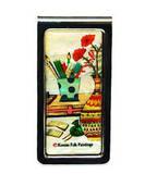 Money clip, stainless steel designer paper holder, mother of pearl gift, Vase
