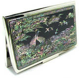 Business card holder, mother of pearl handmade gift, Pine