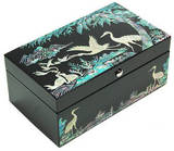 Wooden keepsake box, Jewellery, business card, mother of pearl gift. Cranes