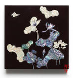 Wall hanger. Mother of pearl home decoration. Lacquer black lotus